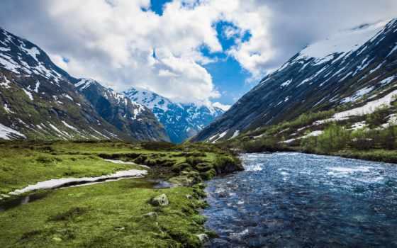 горы, река, природа, norwegian, озеро, sxga, норвегии, язык, чистота,