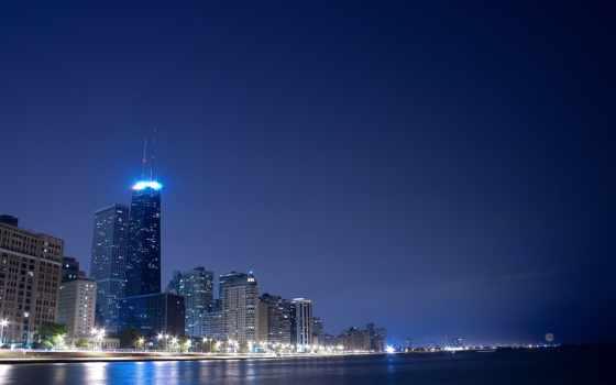 небо, города, город, городские, пейзажи -, ночные, ночное, мегаполисов, огни,