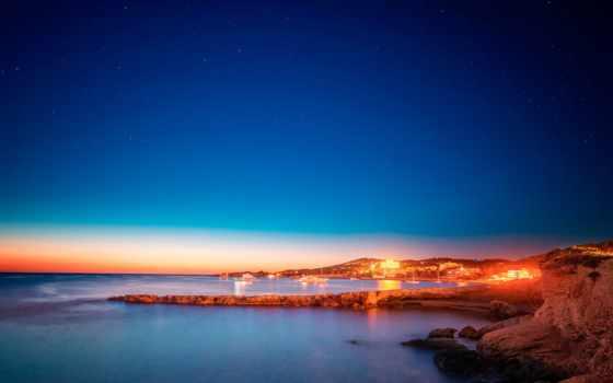ibiza, san, antonio, испания, вечер, море, берег, небо