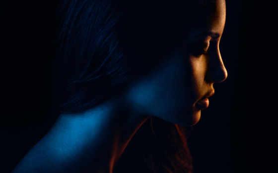 mois, illustration, женщина, darkness, profil, волосы