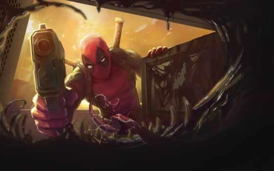 deadpool, marvel, art, venom, comics, супергерой, комикс, artwork, awesome, джин, antihero
