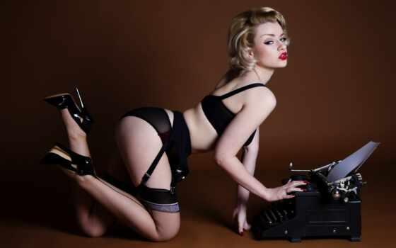 lingerie, vintage, женщина, обнаженная, девушка, чулок, black, каблук, лифчик, blonde