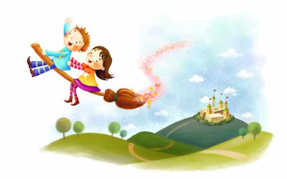 дети летят на метле