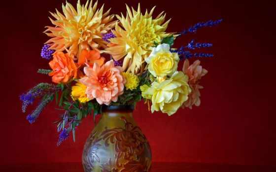 ваза, букет, flowers, цветы, colorful, fleurs, high, фон, couleur,