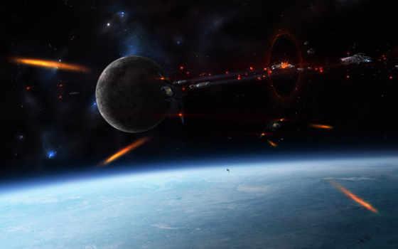 космические, битва, космосе