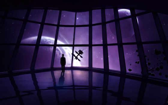мужчина, cosmos, станция, корабль, планеты, звезды,