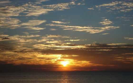 море, рассвет, rising, горизонт, солнечные, rays, line, закат, ipad,