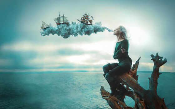 парусные, море, дым, корабли, девушка, разное, photoshop, fantasy, art, страница,