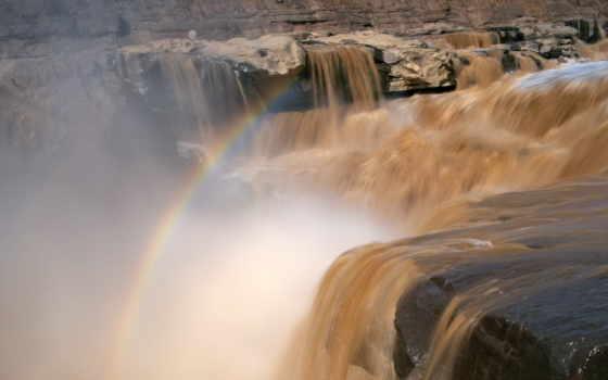 china, sanya, водопад, desktop, природа, радуга, город,