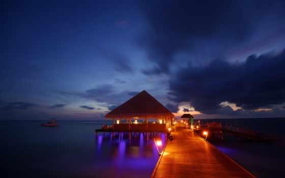maldives, kanuhura, вечер, resort, tropics, бунгало,