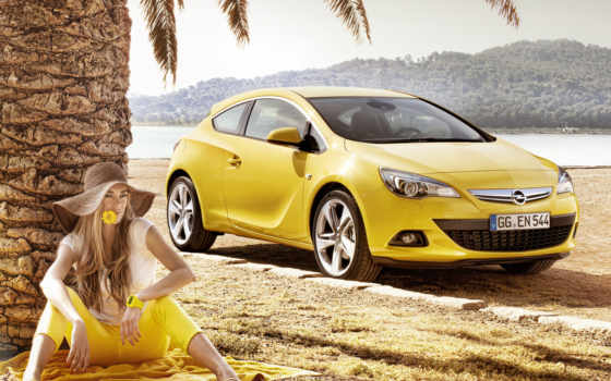 gtc, opel, astra, yellow, coupe,