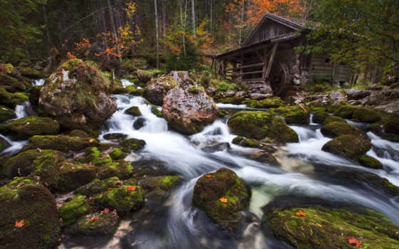 водопад, зелёный, description, display, landscape, widescreen,