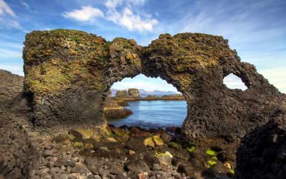 iceland, rocks, пляж, телефон, bay, рассвет, планшетный, ноутбук, mobile,