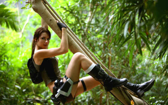 лара, croft, tomb, raider, cosplay, jungle, jolie, angelina,