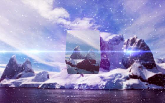 снег, water, горы