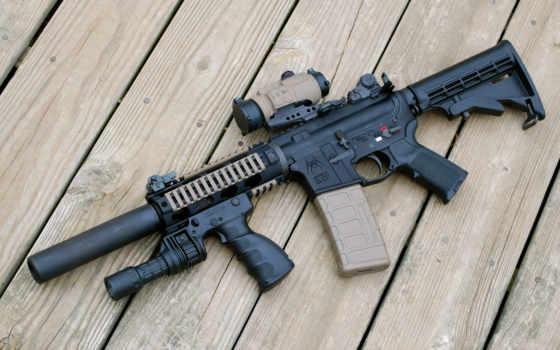 винтовка, штурмовая, акпп, смотреть, глушителем, оружие, optics, доски, tactical,