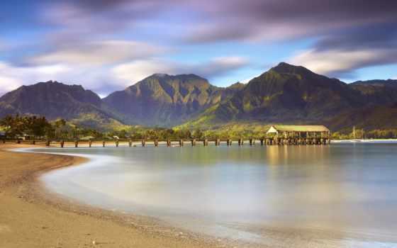 море, пляж, горы, pier, берег, пальмы, небо, песок, природа, ultra,