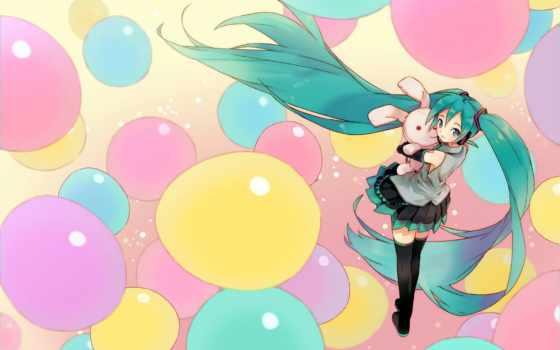 anime, hatsune, miku, vocaloid, balloons, girls, вокалоид, pinterest, девушка,