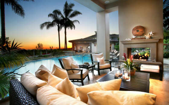 pool, fire, sunset, clouds, sky, summer, trees, night, flowers, nature, palm, интерьеры, style, интерьер, backyard, luxury, architecture, amazing, you, комната, часть, картинка,