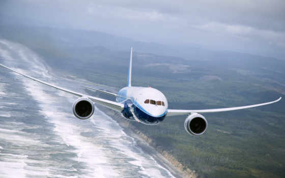 самолёт, летит, boeing, воздухе, авиалайнер, боинг, небо,