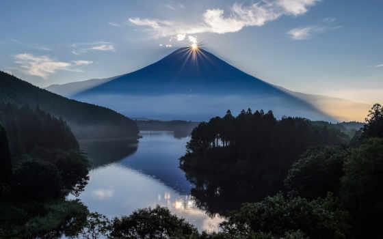 япония, вулкан, природа, храм, vintage, фудзияма, фуджи,