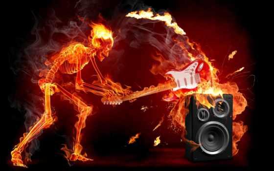 остов, rock, гитара, огонь,