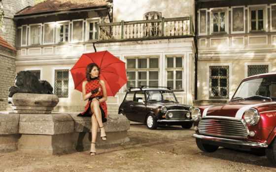ретро, девушка, двор, шатенка, автомобили, улыбка, зонтик, architecture, платья, cars,