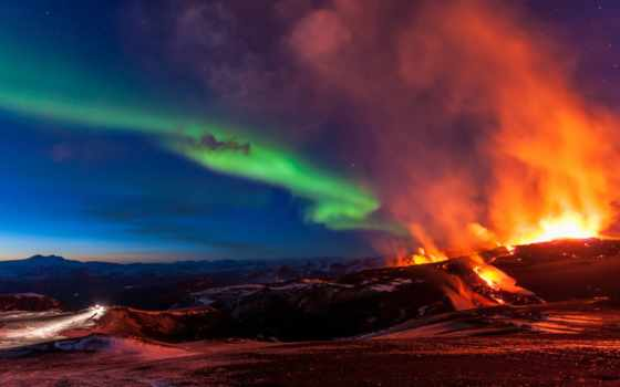 вулкан, aurora, iceland, огни, фото, borealis, erupting, amazing, northern, извержение,