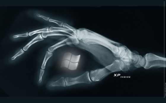 windows, xp, лого, рентген, рука, кости, чёрный