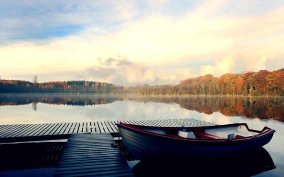 лодка, scenery, parked