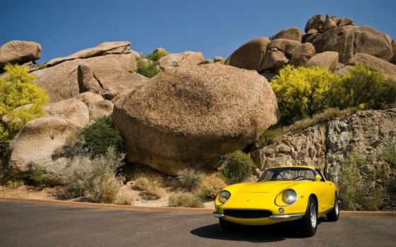 авто, ретро, cwer, старый, ferrari, yellow,