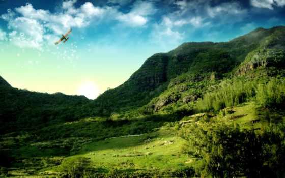 горы, небо, кукурузник, trees, самолёт, трава, oblaka, пейзажи -,