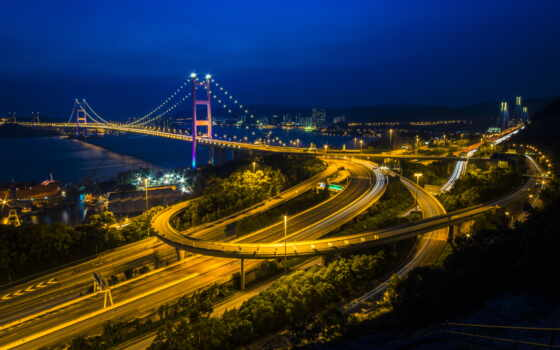 hong, kong, china, roads, ночь, дорога, bridges, rivers, cities,