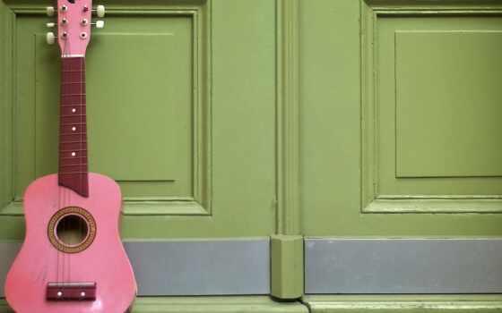 гитара, acoustic, розовый, california, san, cristiana, mujere, abstract