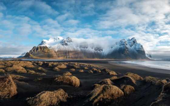 iceland, гора, море, природа, снег, трава, canvas, твой, оригинал, стена