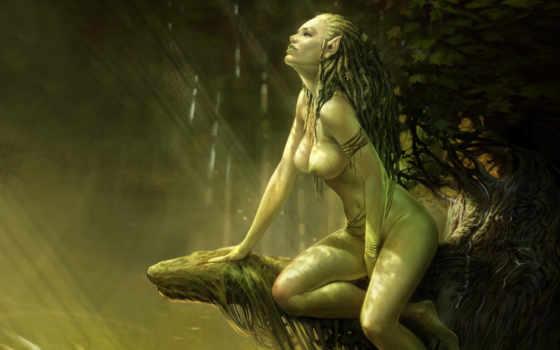 witcher, girl, dryad, грудь, draw, дреды, волосы, дриада, игры, будет, картинка, fantasy, characters,