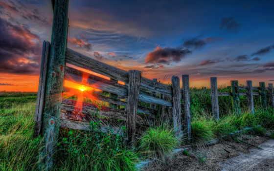 солнца, красивые, природа, февр, пути, wooden,