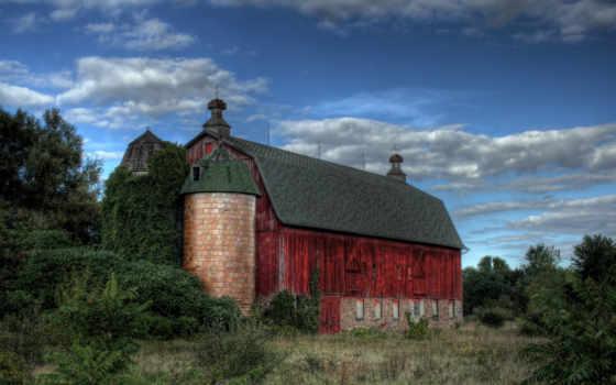 старый, barn, red