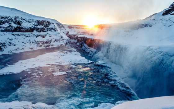 водопад, природа, снег, winter, лед, free, desktop,