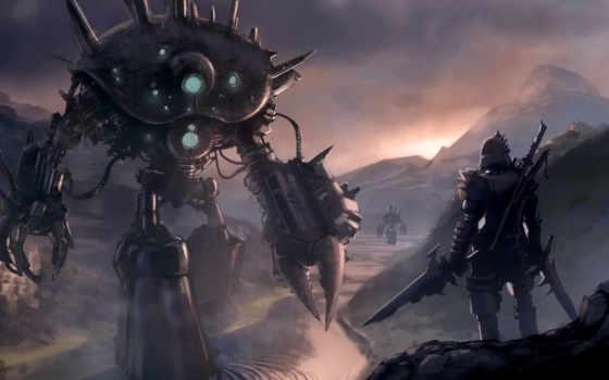 pierre, меч, loyvet, роботы, рыцарь, арт, воин, картинка,