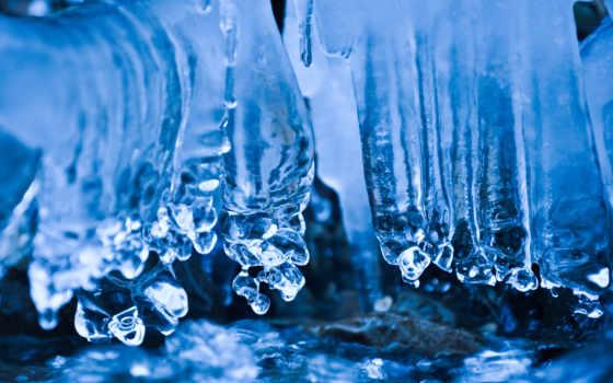 icicles, blue, природа, озеро,