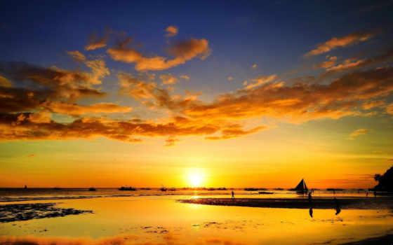 море, sailboat, закат