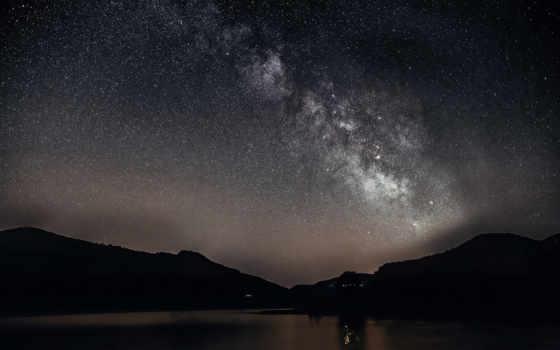 млечный, путь, звезды, cosmos, ночь, небо, панорама, android, explorer, горы, photos,