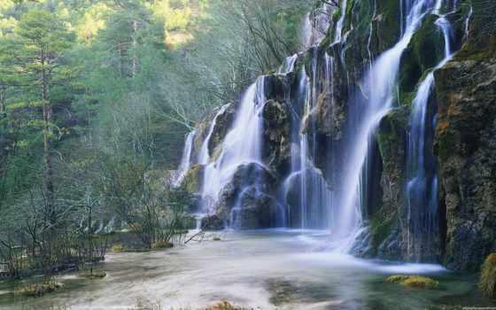 водопад, лесу, красивый, landscape, горном, pin, pictures,