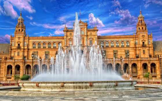 испании, испания, достопримечател, севилья, небо, country, дворец, fountain, главные, туры,