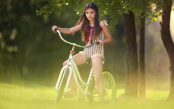 велосипед, девушка, настроение, little, bike, одеть, драйв, side, дерево