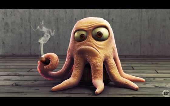 осьминог, сигарой