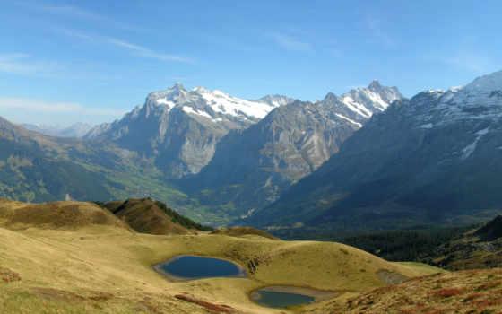 горы, небо, дорога, природа, пейзаж, трава, wallpalerz, облака, панорама,