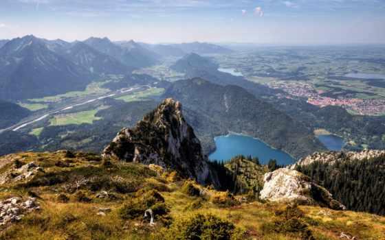 горы, озера, взгляд, первую, леса, долина, снег, природа,