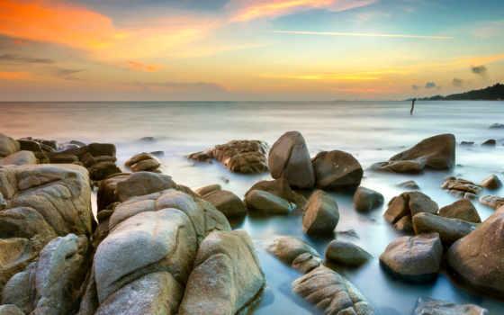 , камни, море, небо, красиво,